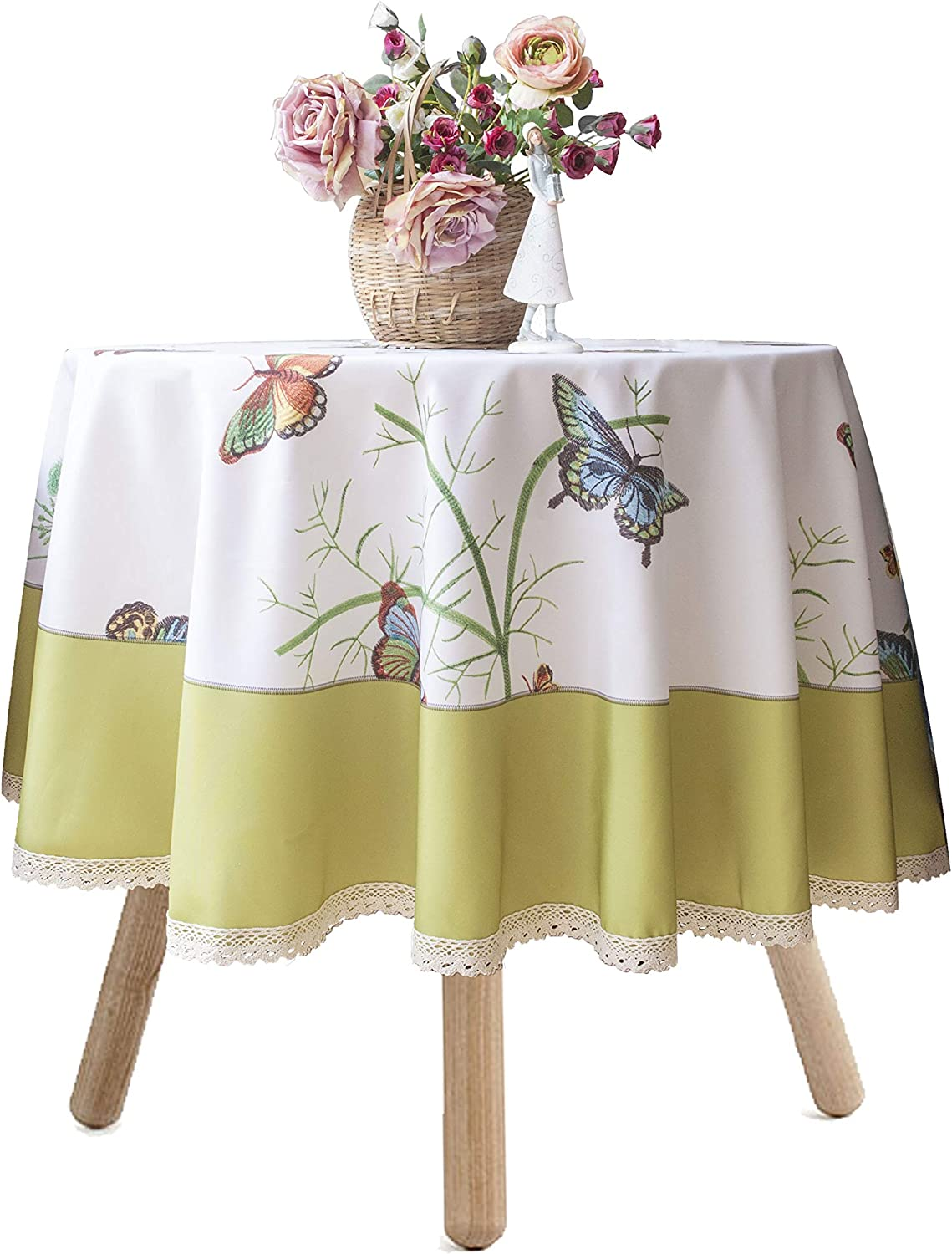 "In the Garden Flower Floral Butterfly Spring Party 60/"" Round Vinyl Tablecover"