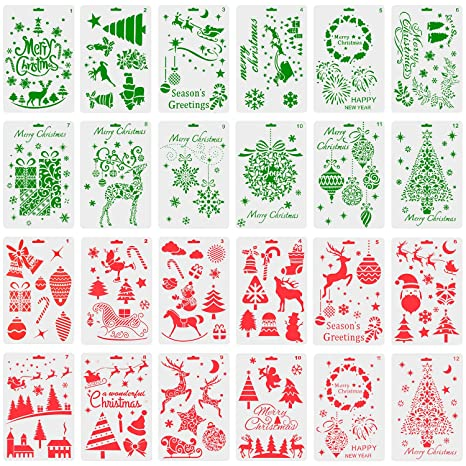 TUPARKA 24Pcs Christmas Stencils Journal Template Painting Stencil for Notebook Christmas Gift Card DIY Projects(24 Styles)
