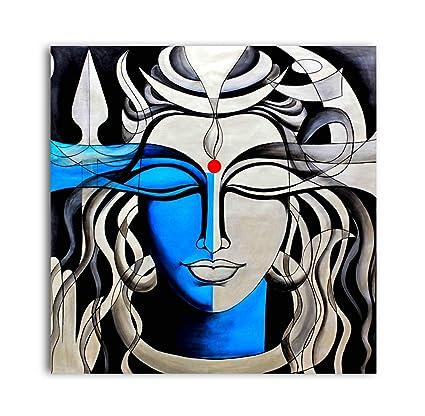 Tamatina Lord Shiva Shankar Canvas Paintings (Multicolour)