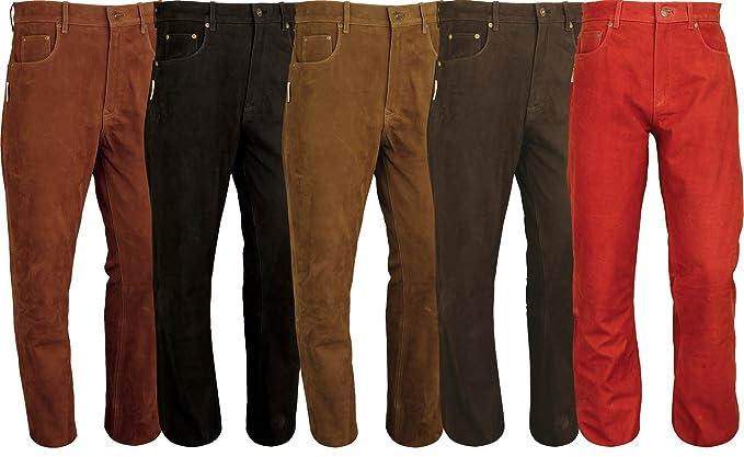 5 Pocket Lederjeans lederjeans 501 herren Wildleder Jeans Herren Lederjeans Braun Nubuk Hose