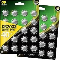 GP CR2032 lithium knoopcellen 3V, knoopcelbatterijen CR 2032 / DL2032, spanning 3 Volt (40 stuks in 8 x 5 stuks…