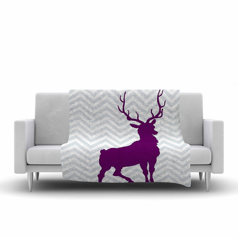 40 X 30 Kess InHouse Suzanne Carter Chevron Deer Purple Fleece Throw Blanket 40 by 30-Inch