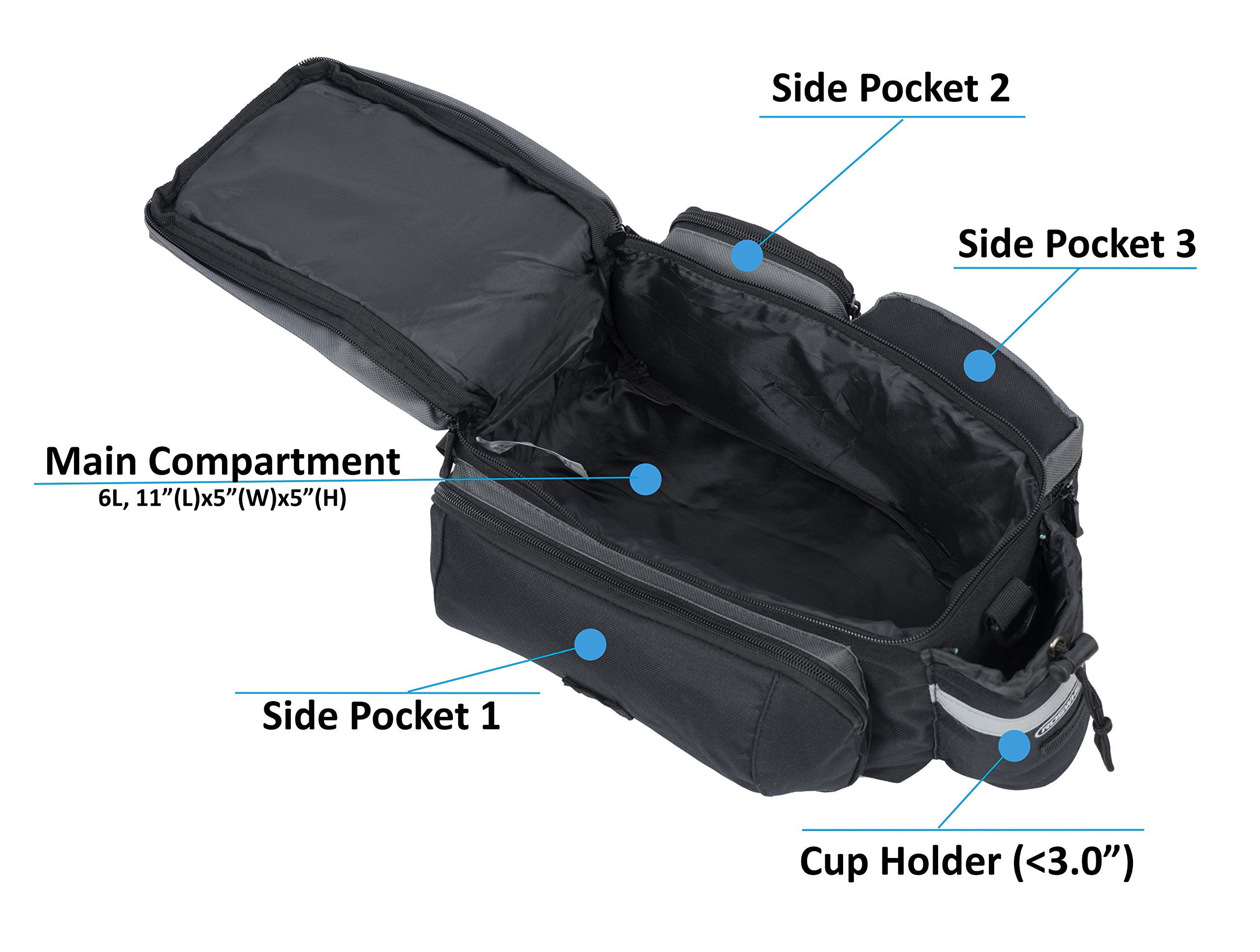 Roswheel 14024 Convertible Bike Bicycle Rear Rack Seat Pannier Trunk Bag with Cup Holder by Roswheel (Image #5)