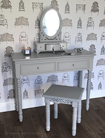 Belgravia Style Dressing Table, Mirror and Stool Set in Dove Grey ...