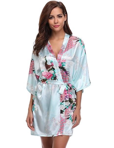 cceac3d37d6 Aibrou Robes de Kimono de Mujer satén de Pavo Real y Flores Seda Nightwear  Corto Estilo