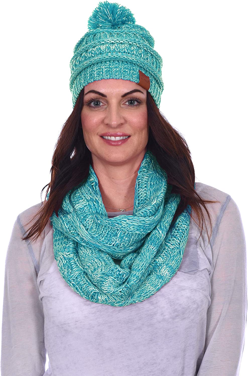 Women's Warm Crocheted Knit Infinity Scarf & Hat Set in 4 Great Fashion Colors