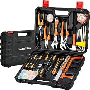 WAKYME 197 Piece Household Hand Tool Kit, Wrench Plastic Toolbox with General Household Hand Tool Set, Repair Tool Combination, Home/Auto Repair Tool Set