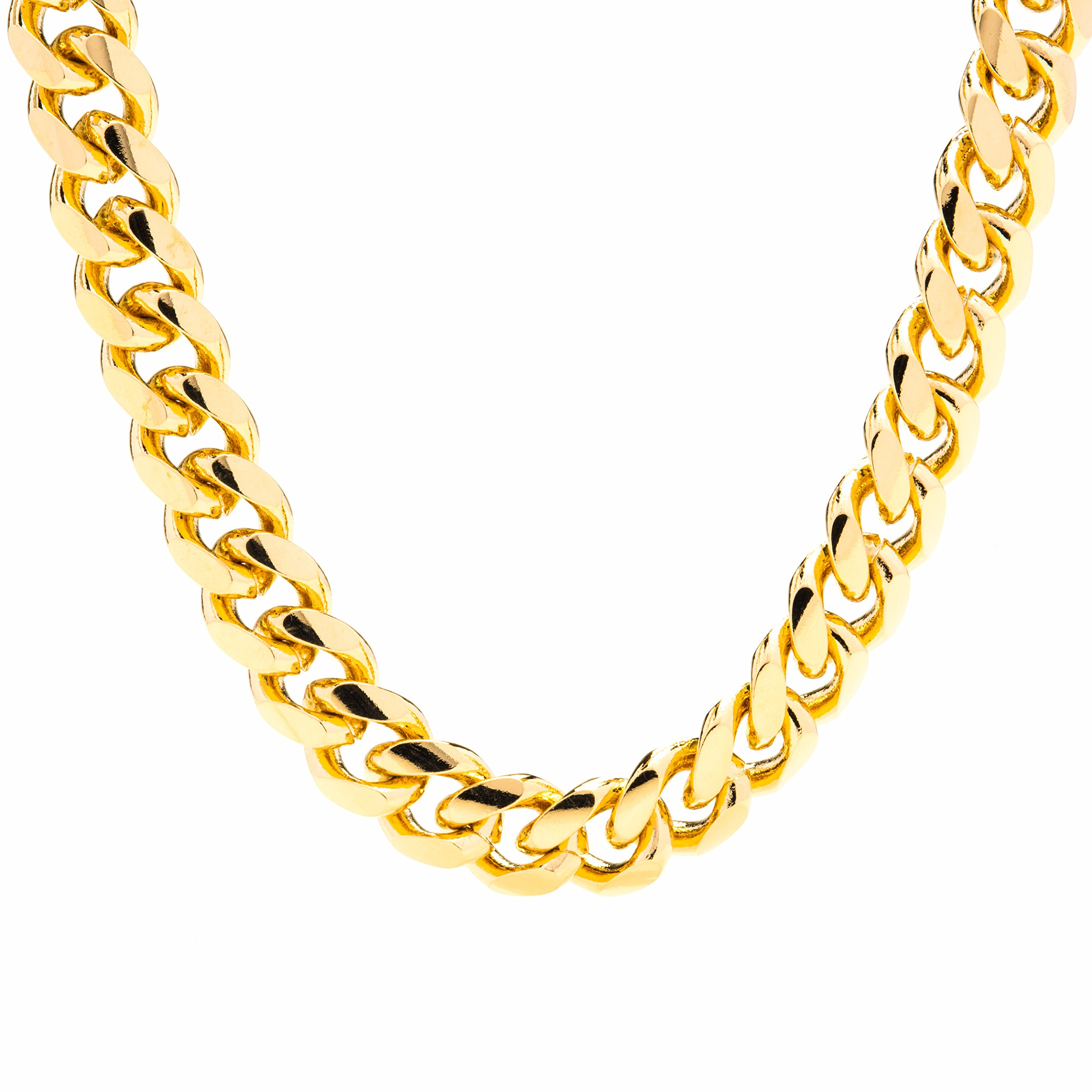 Gold Cuban Link Chain 11MM, Round, 24K Overlay Premium Fashion Jewelry Necklaces, Resists Tarnishing, GUARANTEED FOR LIFE, 24 Inches