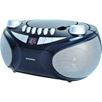 Sylvania SRCD286 Portable Cassette, CD, AM/FM Radio Boombox with Cassette Player, Silver