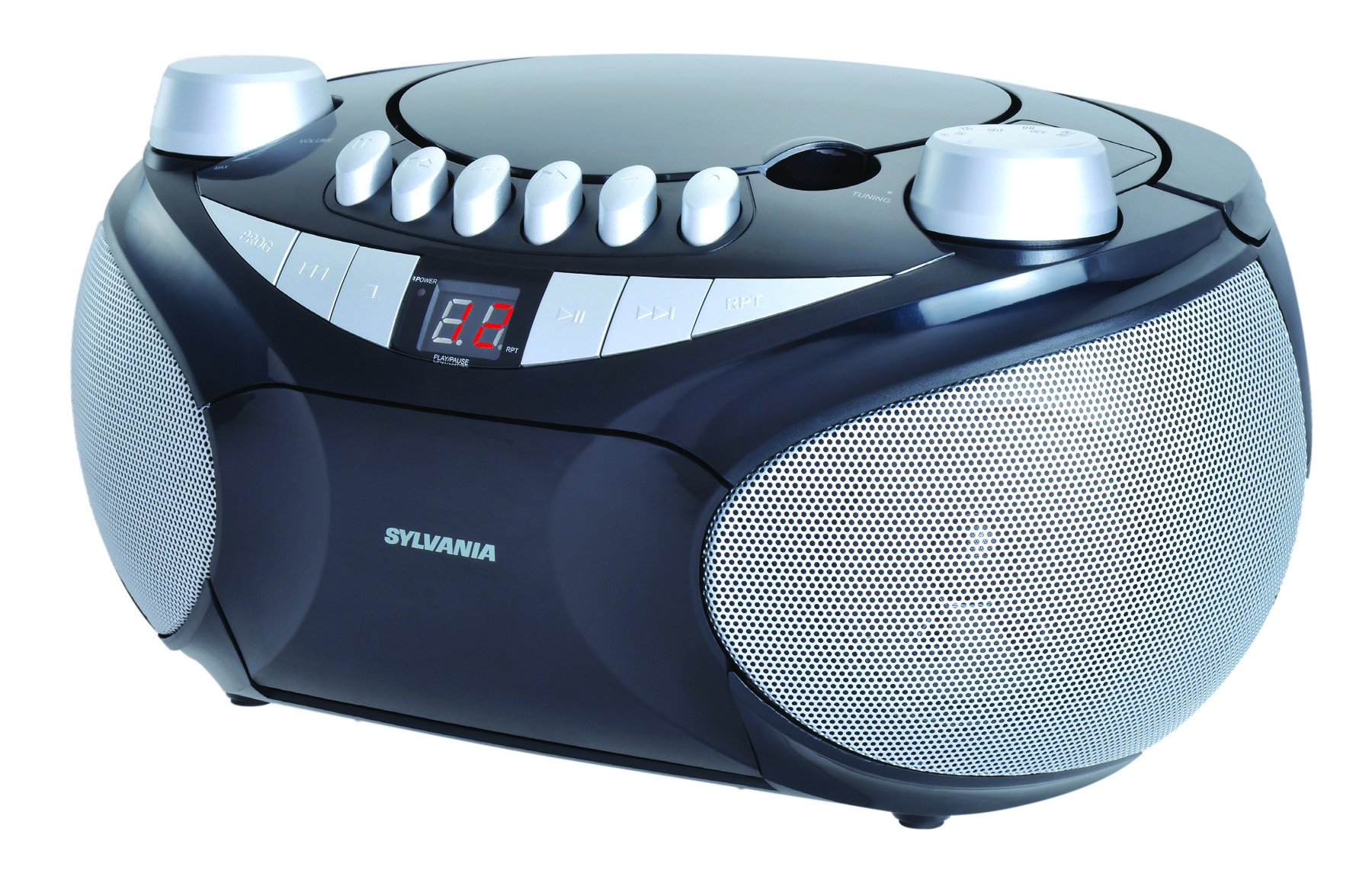 Sylvania Portable Cassette, CD, AM/FM Radio Boombox, with Cassette Player (SRCD286) by SYLVANIA