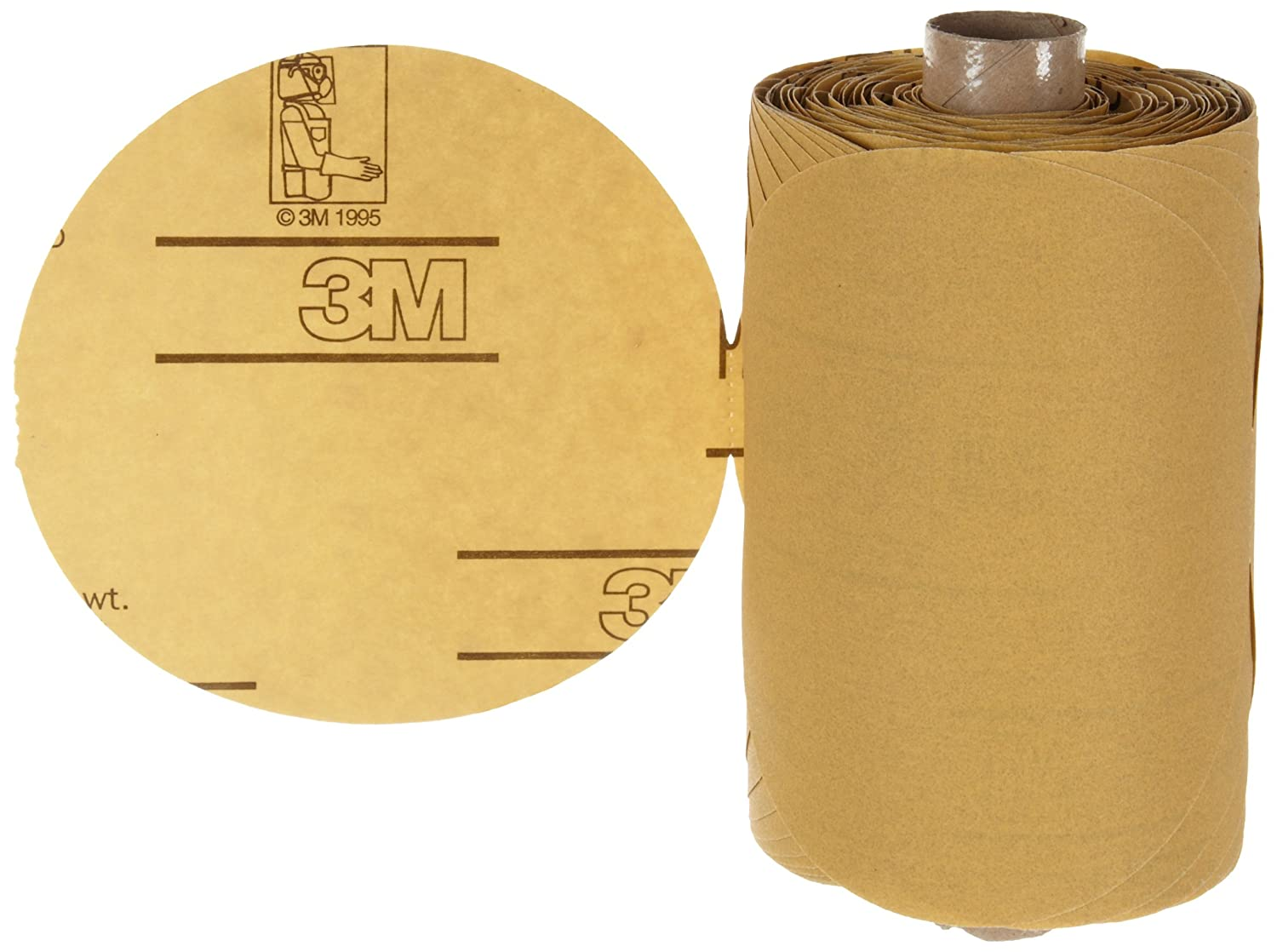 "3M Stikit Gold Paper Disc Roll 216U, Paper, PSA Attachment, Aluminum Oxide, 5"" Diameter, P280 Grit, Gold (Pack of 1) 81udZkY2guL._SL1500_"