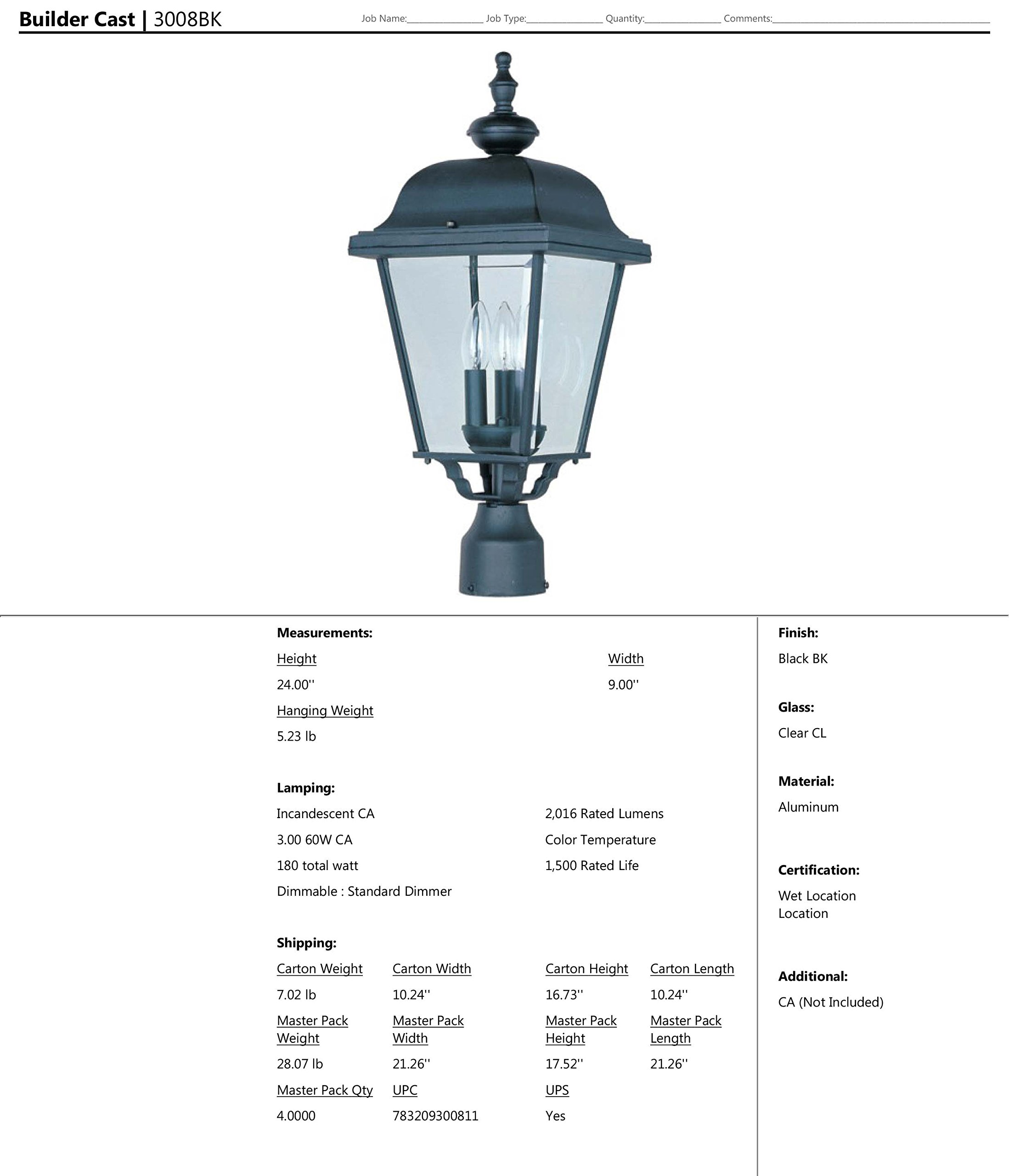 Maxim 3008BK Builder Cast Aluminum Outdoor Post Lighting 9 by 24 Inch – Outdoor Light Fixtures for Lobby, Courtyard, Balcony, Dockyard. Lighting Accessory by Maxim Lighting (Image #2)