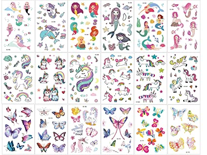 Amazon.com: OMLEE - Tatuajes temporales de unicornio para ...