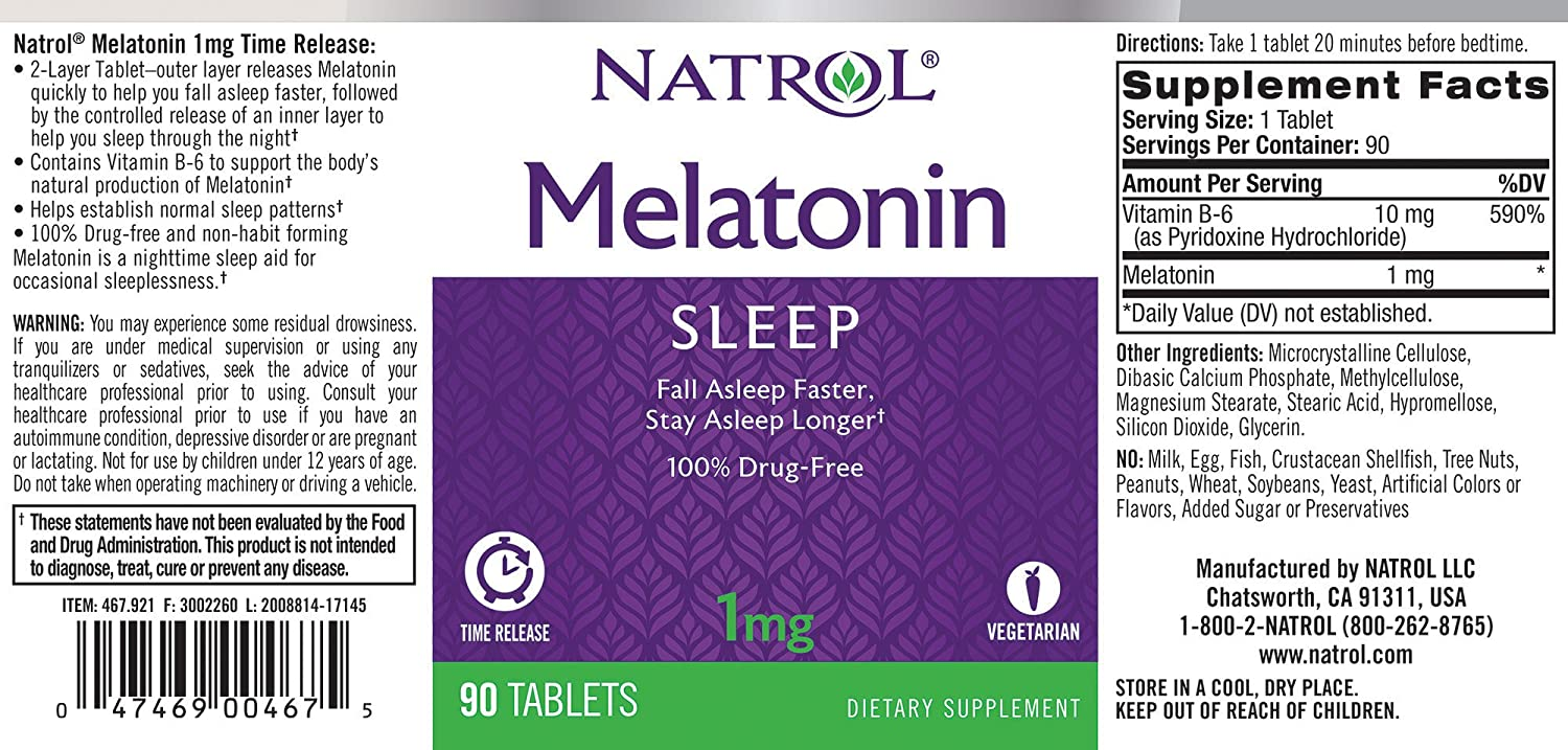 Amazon.com: Natrol Melatonin Time Release Tablets, 1mg, 90 Count (Pack of 2): Health & Personal Care