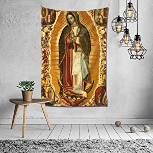 WANGJIA Our Lady of Guadalupe Virgen De Guadalupe Tapestry Wall Decor Hanging for Dorm Party Bedroom Living Room Home Decorations Polyester 60w X 40l Inches