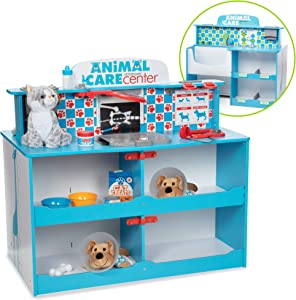 "Melissa & Doug Animal Care Veterinarian & Groomer Wooden Activity Center (Role Play Center, Teaches Empathy, Great for Plush Stuffed Pets, 35.5"" H x 26.5"" W x 33.5"" L)"
