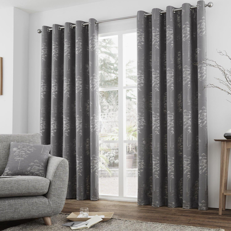 "Eyelet Curtains Helsinki 66x72/""//168x183cm Graphite"