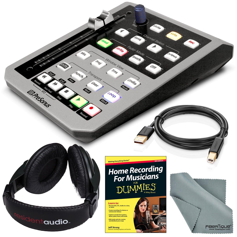 PreSonus FaderPort Single Motorized Fader USB DAW Controller and Accessory Bundle w/Home Recording for Musicians for Dummies + Headphones + Fibertique