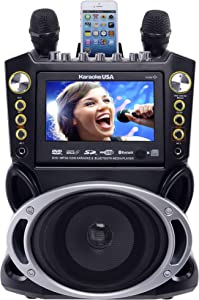 """Karaoke USA GF844 Complete Karaoke System with 2 Microphones, Remote Control, 7"""" Color Screen, LED Lights - Works with DVD, Bluetooth, CD, MP3 and All Devices"""