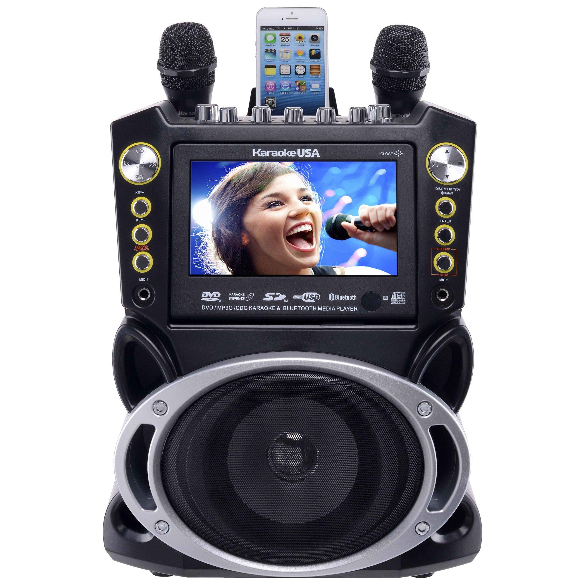 Karaoke USA GF844 Complete Karaoke System with 2 Microphones, Remote Control, 7'' Color Screen, LED Lights - Works with DVD, Bluetooth, CD, MP3 and All Devices