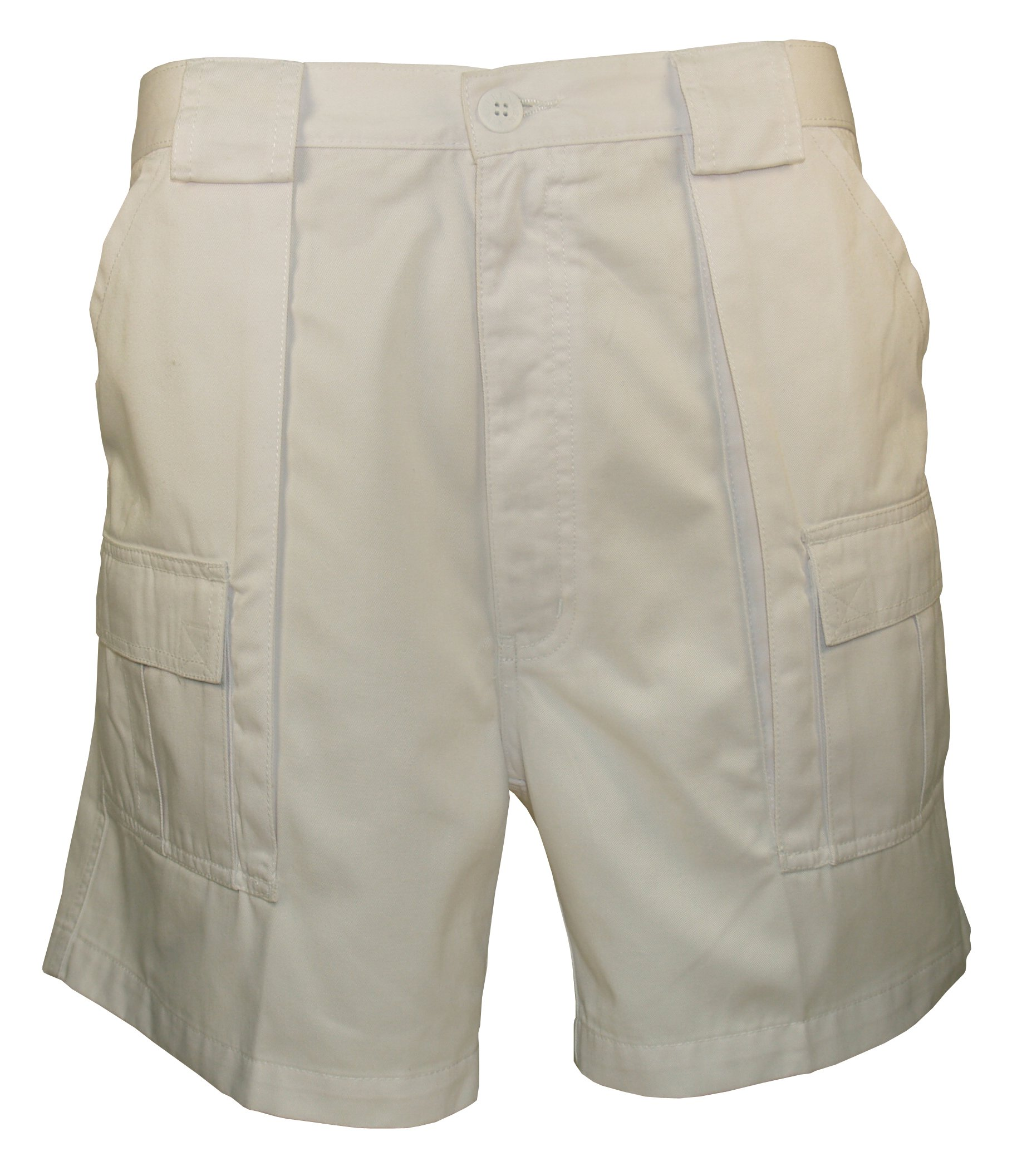 Cargo Short Shorts - Weekender Trader Casual Work Utility Polyester Cotton Twill Weave Shorts in White - 40