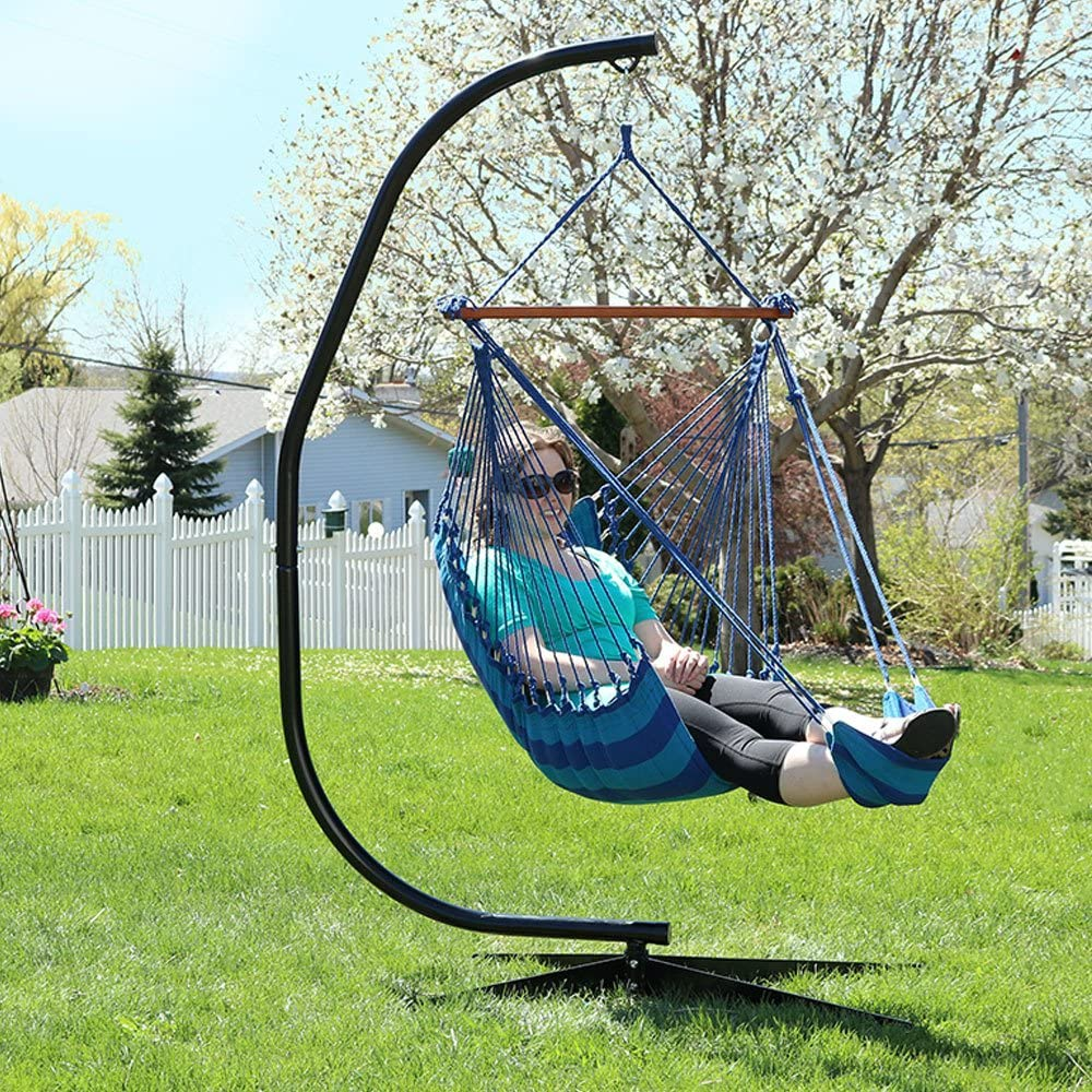 Sunnydaze 26 Inch Wide Hanging Hammock Chair with Footrest and 7 ft C-Stand - Beach Oasis - 300 lbs Weight Capacity