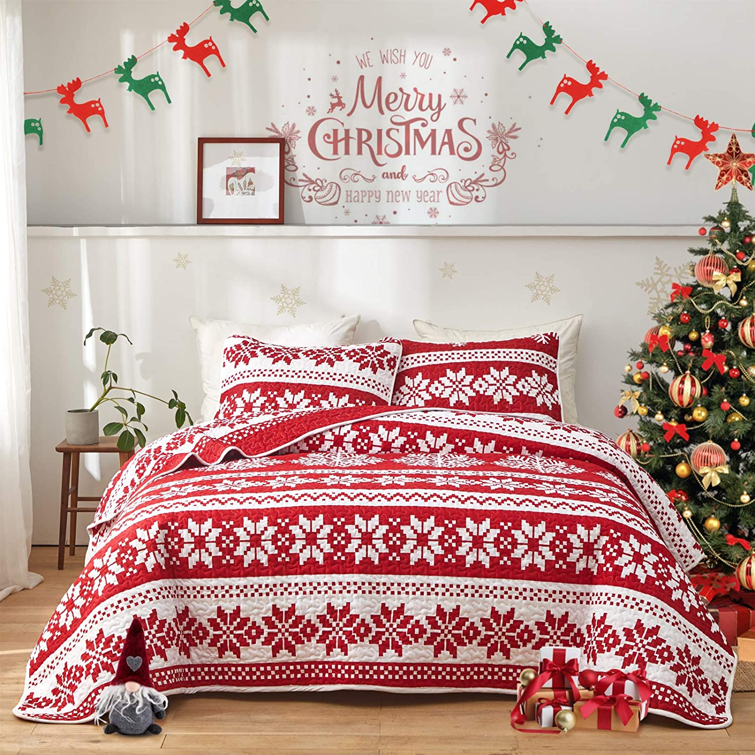 FlySheep Christmas Quilt Set Soft Microfiber Holiday Lightweight Bedspread Coverlet Bedding Set - Red White & Little Pink Snowflake Printed Queen