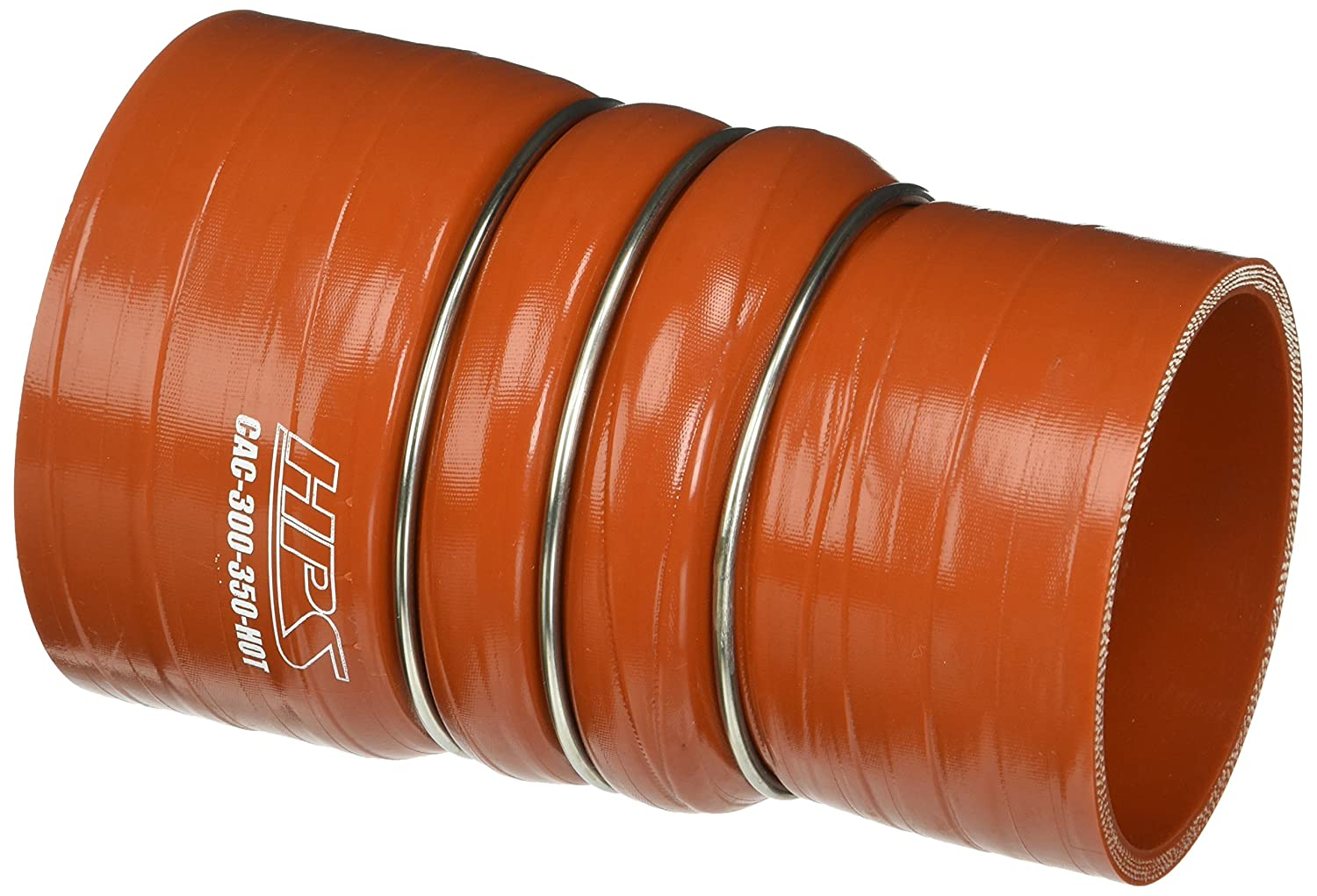 HPS CAC-300-350-HOT Silicone High Temperature 4-ply Aramid Reinforced Charge Air Cooler CAC Hose Hot Side, 100 PSI Maximum Pressure, 6' Length, 3' > 3-1/2' ID, Orange 6 Length 3 > 3-1/2 ID HPS Silicone Hoses
