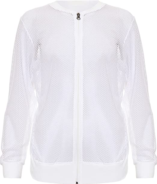 New Ladies Long Sleeves Net Plain Mesh Bomber Jacket Women Top Plus Size Shirt