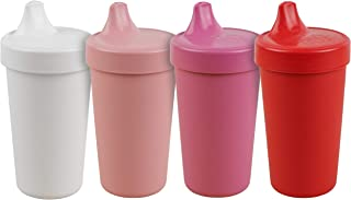 product image for Re-Play Made in The USA 4pk No Spill Cups for Baby, Toddler, and Child Feeding in White, Blush, Bright Pink and Red | Made from Eco Friendly Heavyweight Recycled Milk Jugs | (Valentine+)