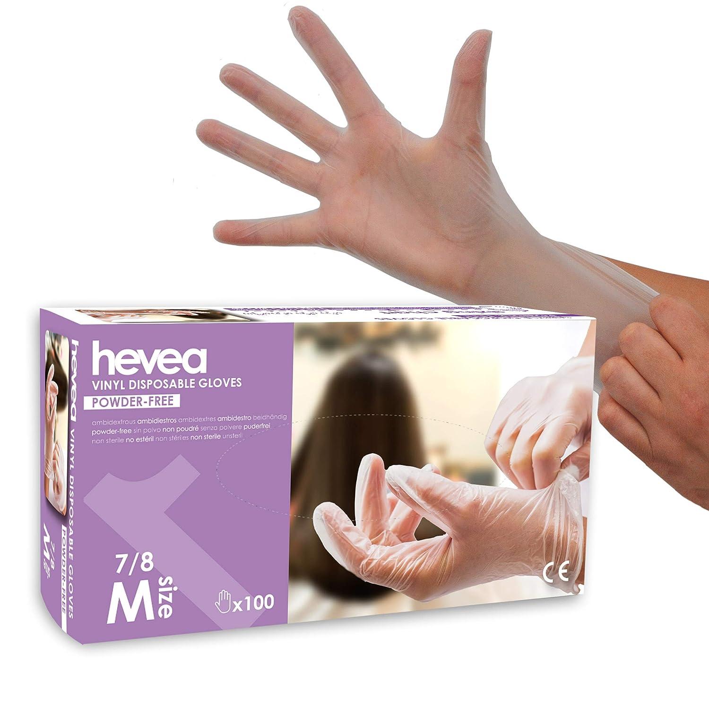 Gants en vinyle jetables Hevea Sans talc et sans latex Moyenne Taille/: M Lot de 5 bo/îtes de 100 gants chacune