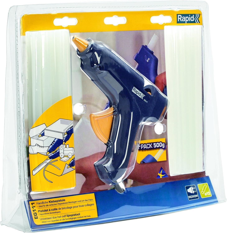 différemment prix plus bas avec sélectionner pour officiel RAPID – Kit Pistolet à colle EG111 + 500 g de colle en bâtonnets de Ø12 mm  – 25 W/120-240 V – Chauffe en moins de 10 min – Protection de buse silicone  ...