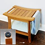 WELLAND Deluxe Teak Shower Bench with Storage Shelf & Lift Handles, 19 1/2-Inch