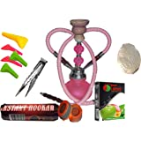 """2 Hose Hookah Neon, Two Styles to Choose from 12"""" Height, Cute Shape Comes with Instant Charcoal roll, 5 Mouth Tips, 25…"""