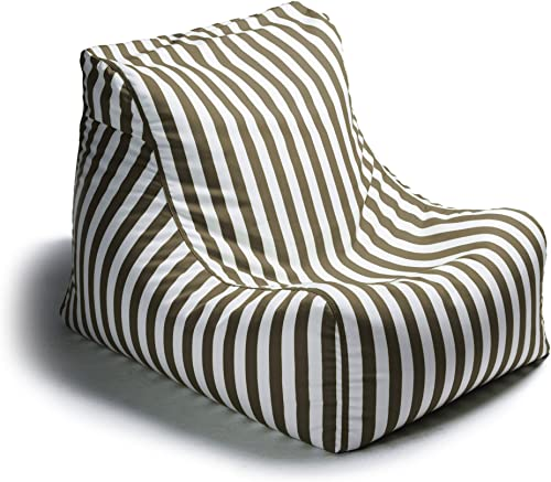 Jaxx Outdoor Bean Bag Lounge Chair, Ponce, Stripe, Taupe