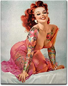 FCZ Canvas Wall Art: Retro Pinup Girl Graphic Artwork Painting for Home Living Room Office Bathroom, 16x20 Modern Home Decoration