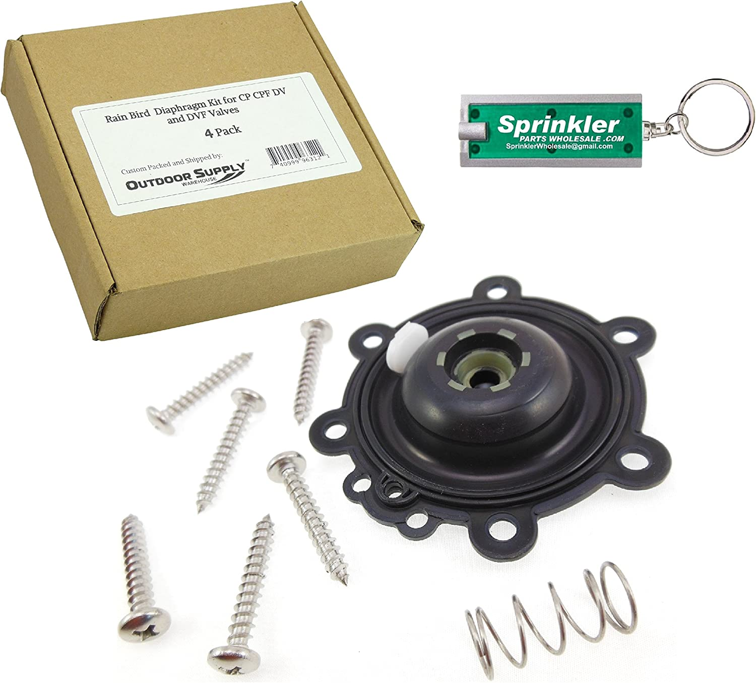 Rain Bird Diaphragm Repair Kit for CP CPF DAS DV and DVF Valves 3 4 1 with a Free SprinklerPartsWholesale Flashlight Keychain DRK-CP B6048 210746-03 21074603 170817 4