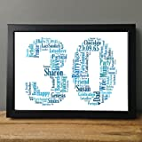 30th Birthday UPK Gifts Personalised Word Art Gift Keepsake Any Age 30 1st 16th 18th 21st