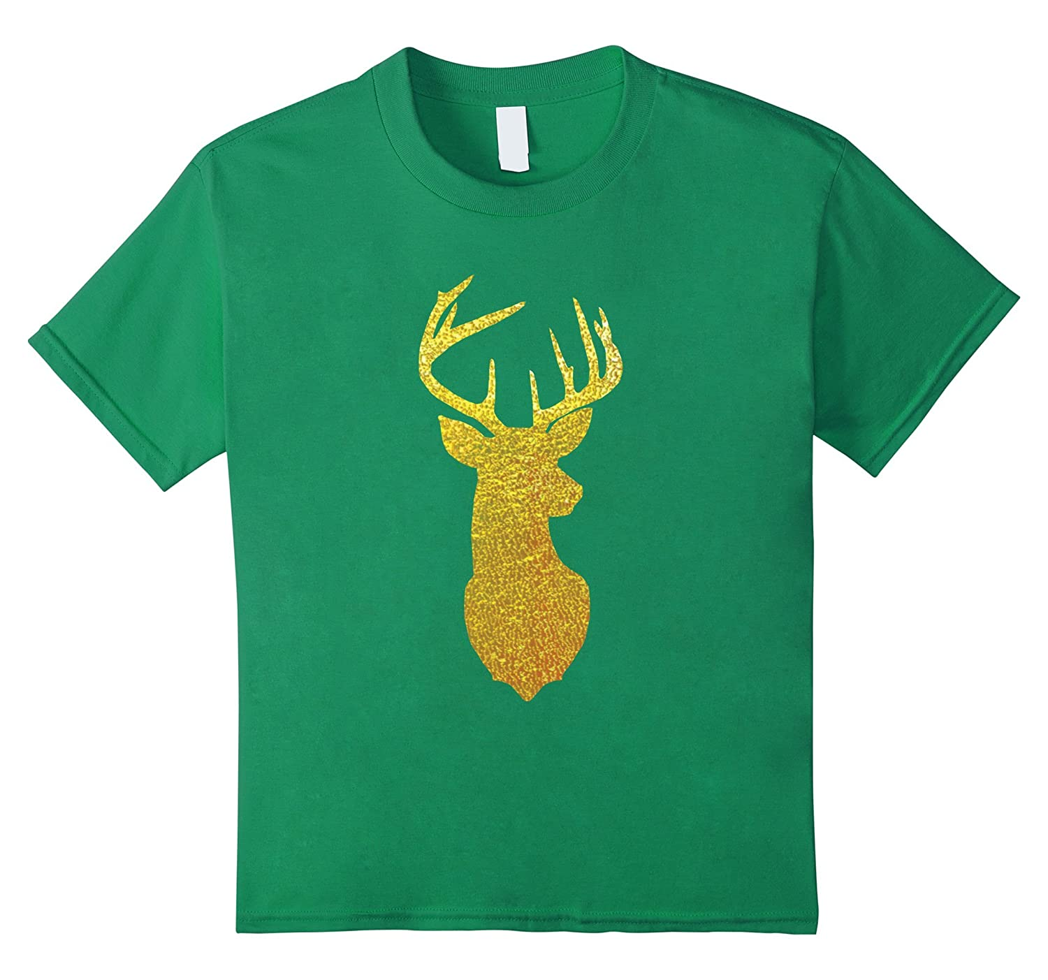 Mens Gold Glitter Reindeer Shirt-Awarplus