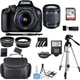 Canon EOS 4000D Digital SLR Camera w/ 18-55MM DC III Lens Kit (Black) with Accessory Bundle, Package Includes: SanDisk 32GB C