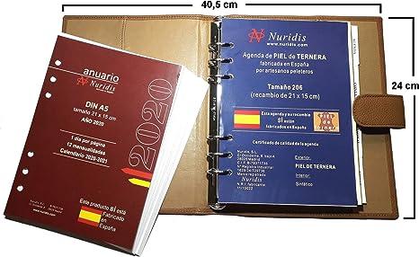 Agenda española de Piel de ternera Premium, con recambio del año ...