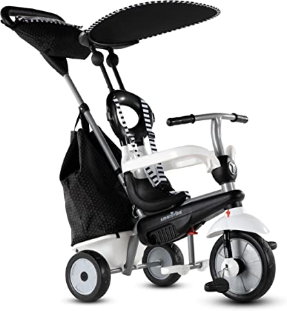 smarTrike Vanilla Plus 4 in 1 Adjustable Baby and Toddler Tricycle Push Stroller Bike with Canopy for Ages 15 Months to 3 Years, Black