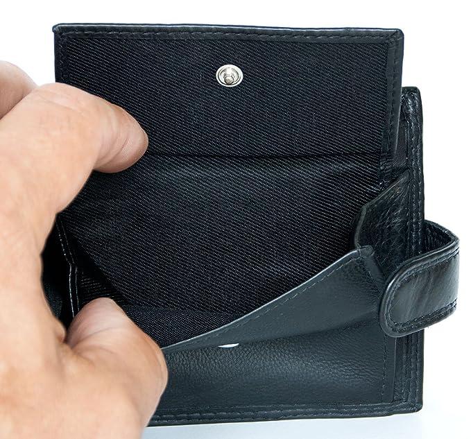Cartera de cuero genuino negro sin logotipos ni marcas: Amazon.es: Equipaje