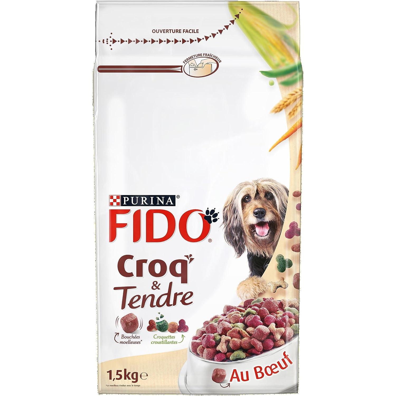 Fido Croq' & Tendre Bœuf Céréales et avec des Vitamines 1, 5 kg Croquettes pour Chien Adulte - Pack de 6 12259947