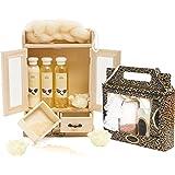 BRUBAKER Cosmetics - Coffret de bain - Beurre de karité / Vanille - 15 Pièces - Armoire en Bois - Idée cadeau