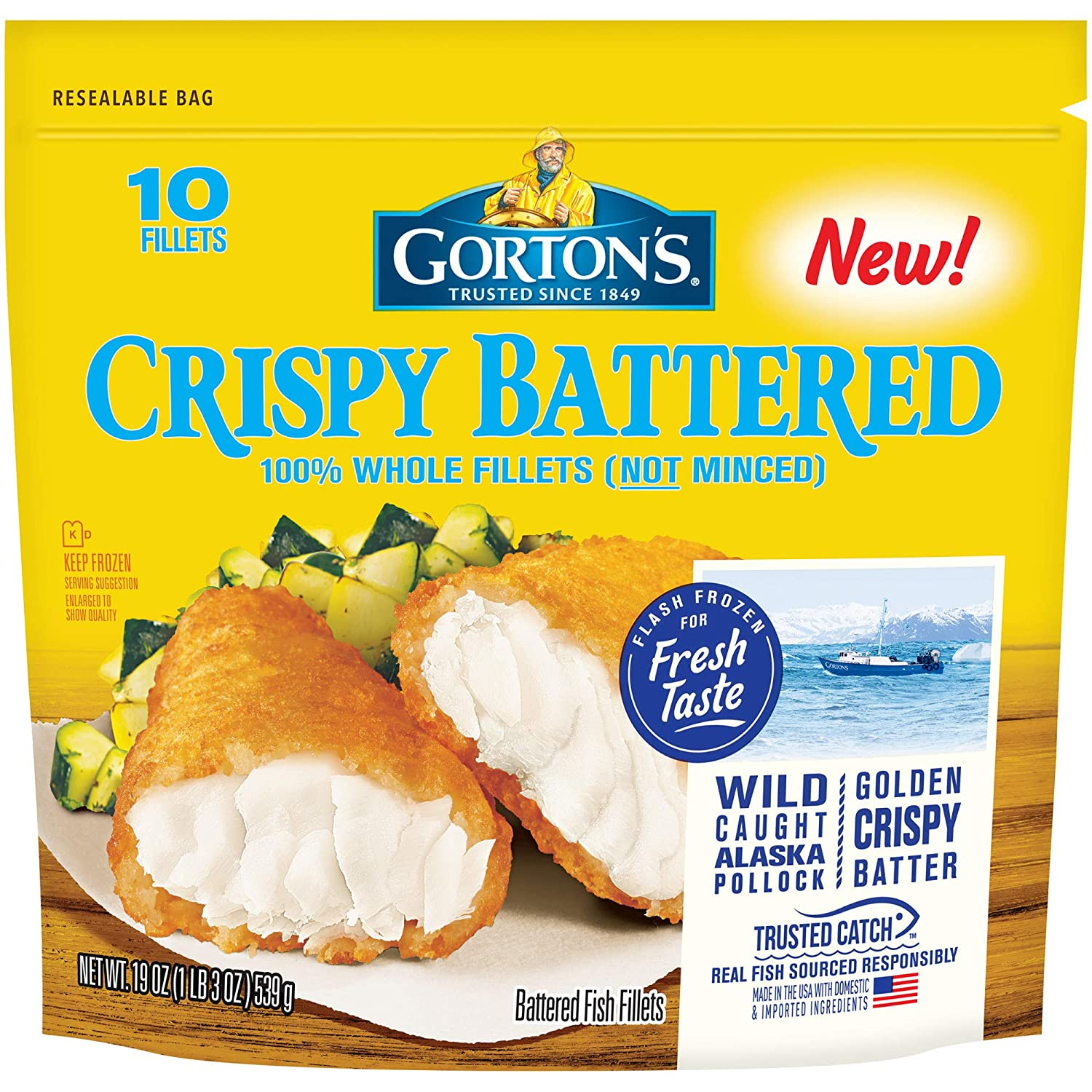 Gorton's, Crispy Battered Fish Fillets, 19 oz (Frozen)