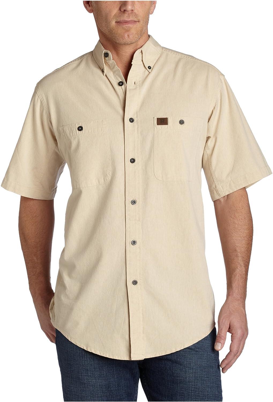 3fae5521fdc Amazon.com  Wrangler RIGGS WORKWEAR Men s Chambray Work Shirt  Button Down  Shirts  Clothing