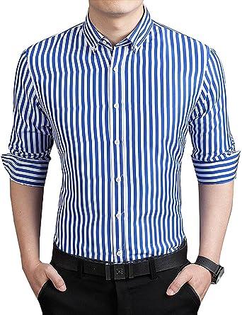 bb07d14801 DOKKIA Men's Formal Business Vertical Striped Button Down Long Sleeve Dress  Shirts (X-Small