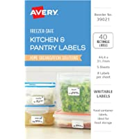 Avery Freezer-Safe Kitchen Labels, Handwritable, Water-Resistant, 44.4 x 31.7 mm, 40 Labels (39021)