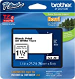Brother Laminated Black on White 1 1/2 Inch Tape - Retail Packaging (TZe261) - Retail Packaging